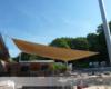 Motorisch aufrollbares Sonnensegel im Bootshaus Schloss Weissenhaus Beachbar