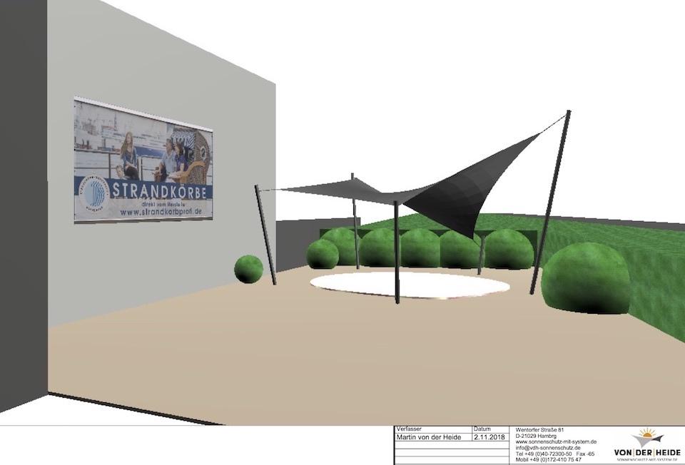 CAD-Planung eines Sonnensegels für Strandkorbprofi in Buxtehude. Fünfeck Hyparsegel.